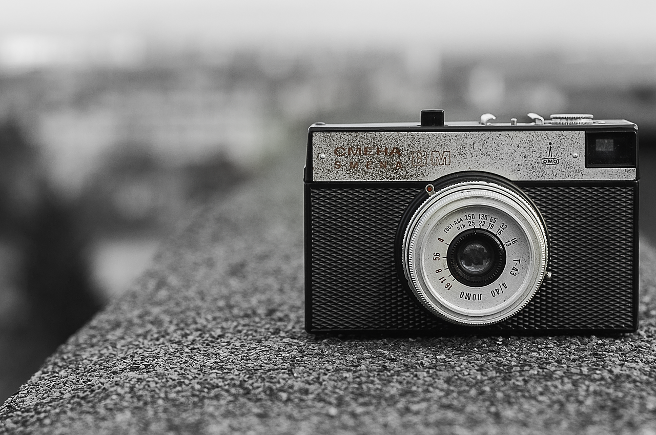 black and white, camera, vintage